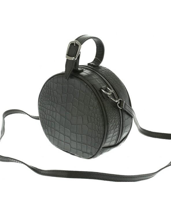 Mała okrągła torebka skórzana czarna