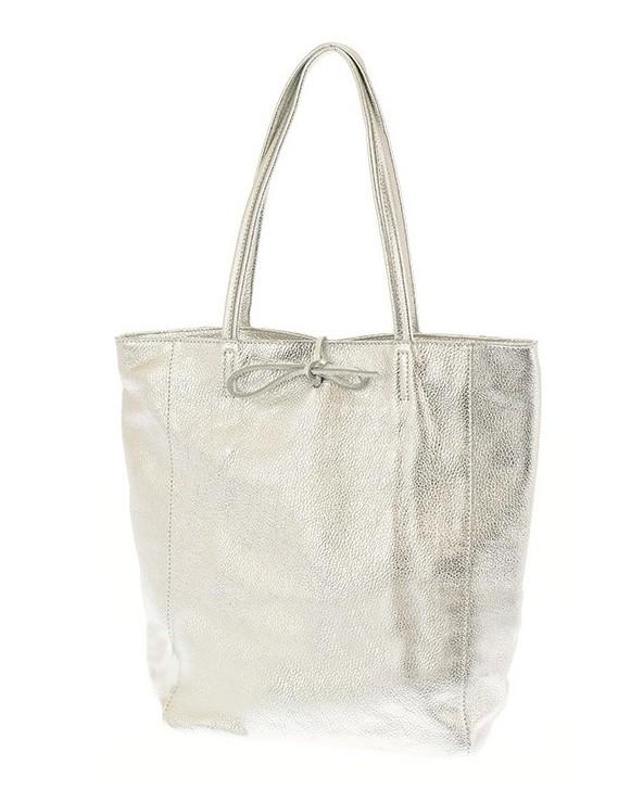 Włoska skórzana wiązana torebka worek shopper srebrna metaliczna