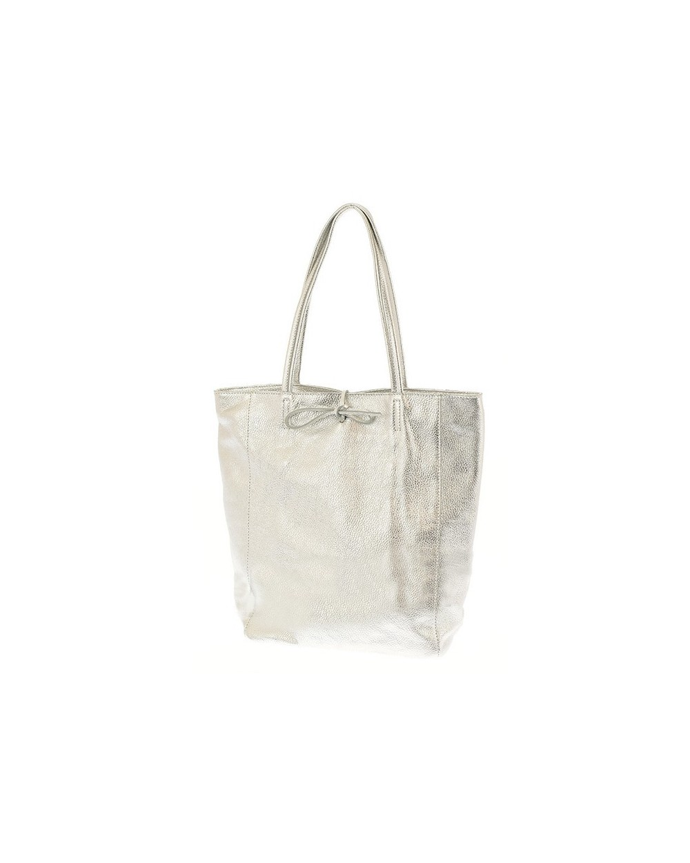 Włoska skórzana torebka worek shopper srebrna metaliczna