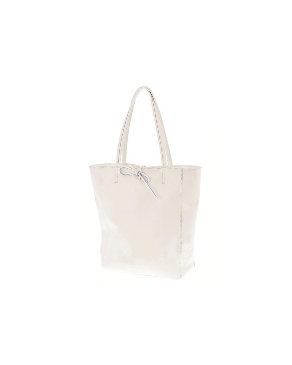 Włoska skórzana wiązana torebka worek shopper Biała