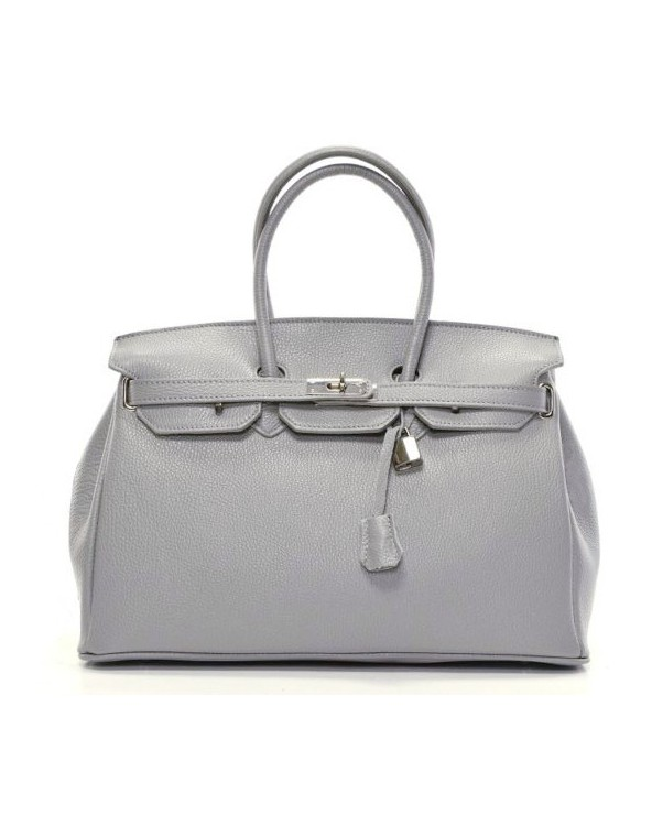 Klasyczna skórzana torebka kuferek a'la Hermes szary