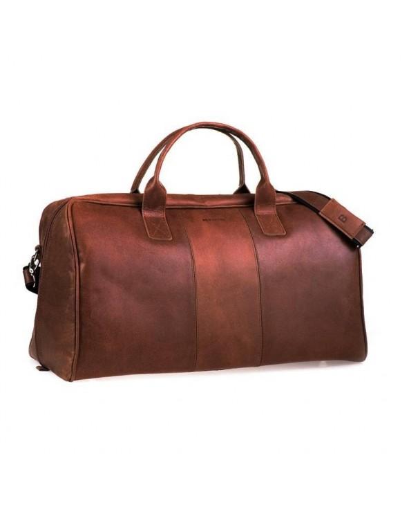 Casual skórzana torba podróżna na ramię jasny brąz