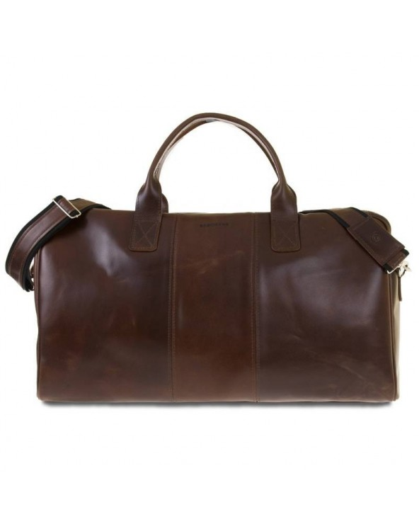 Podróżna torba ze skóry naturalnej Brodrene brąz koniakowy
