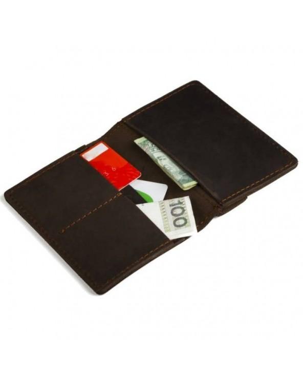 Cienki skórzany portfel męski Brødrene ciemny brąz