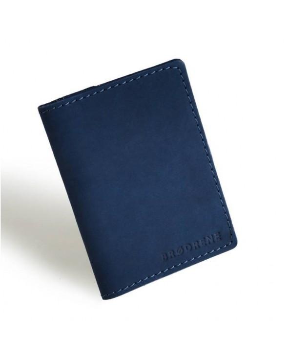 Cienki skórzany portfel męski Brødrene granatowy