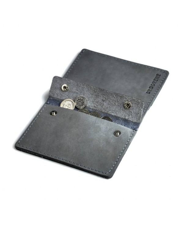 Cienki skórzany portfel męski Brødrene szary