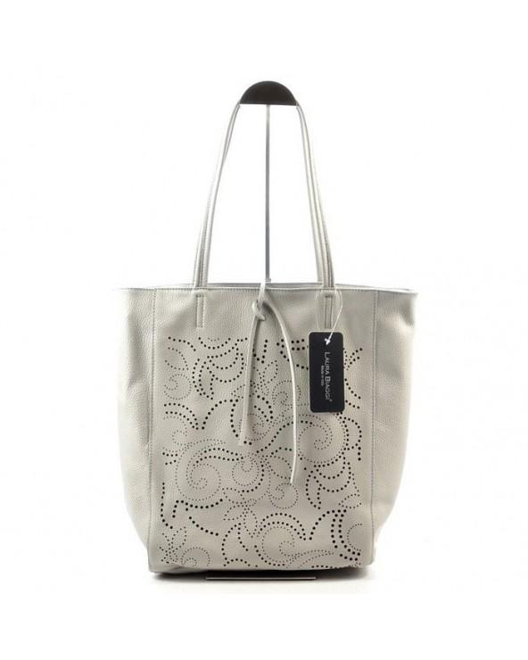 Włoska skórzana torebka z ażurem Laura Biaggi szara