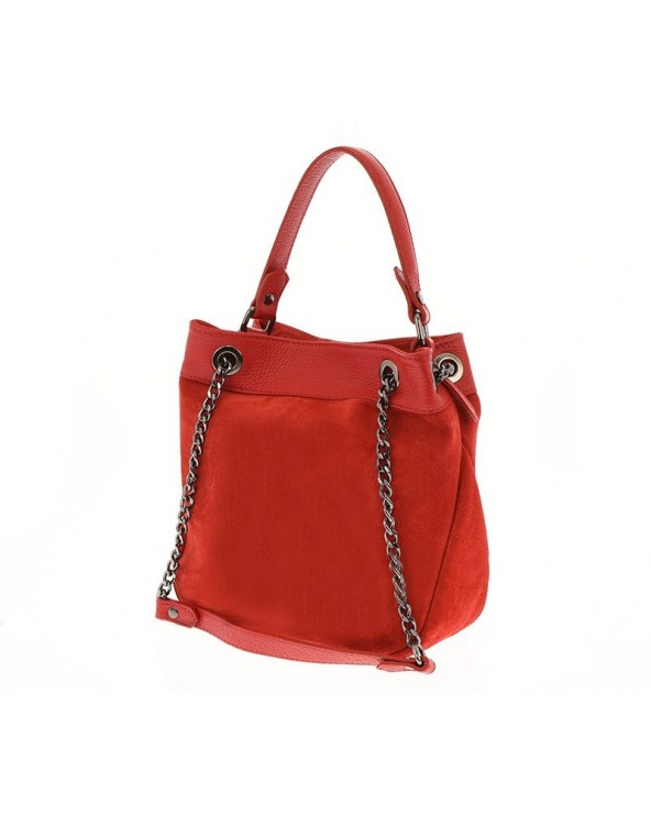 Włoska torebka damska worek mały kuferek czerwony