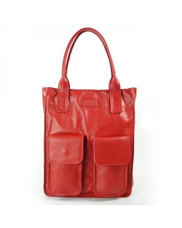 Modna torebka a'la by o la la skórzany shopper worek czerwona