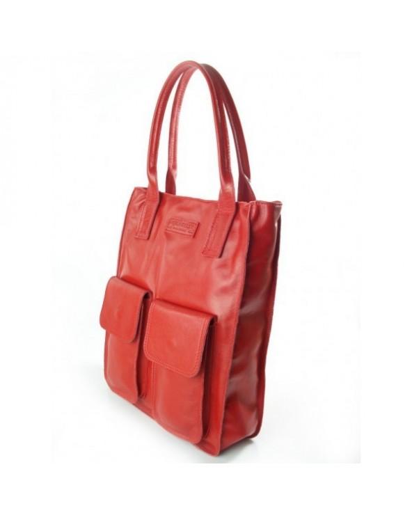 Duża włoska torba skórzana vera pelle czerwona