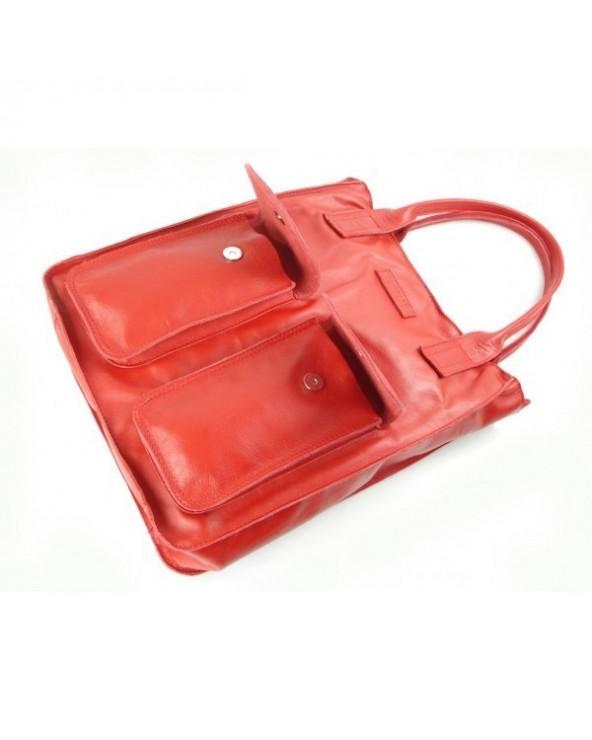 Włoskie torebki czerwone vera borse pelle