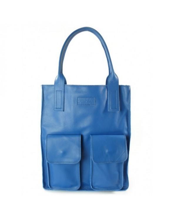 Duża skórzana torebka włoska shopper 2 kieszenie niebieska