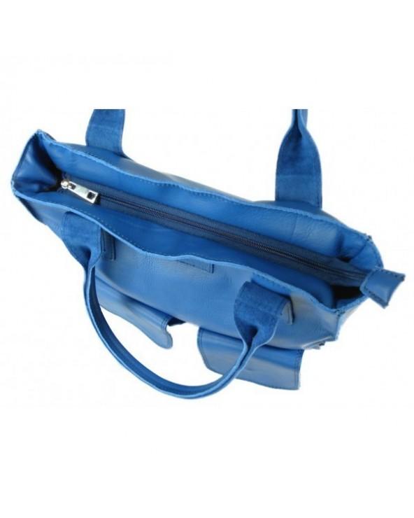 Duża torba skorzana shopper niebieska vera pelle