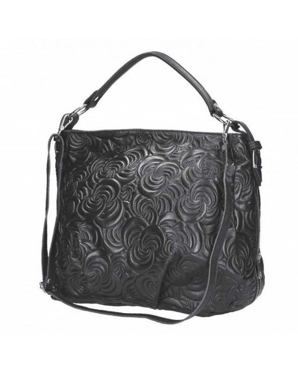 Skórzana torebka w kwiaty Patrizia Piu czarna