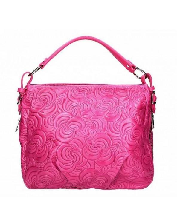 Różowa skórzana torebka w kwiaty Patrizia Piu fuksja