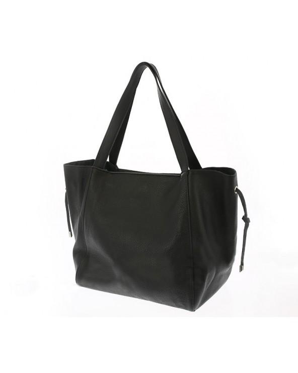 Włoska duża torba na ramię z miękkiej skóry naturalnej czarna