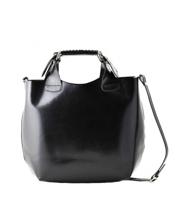 Klasyczny elegancki włoski shopper bag vera pelle czarny