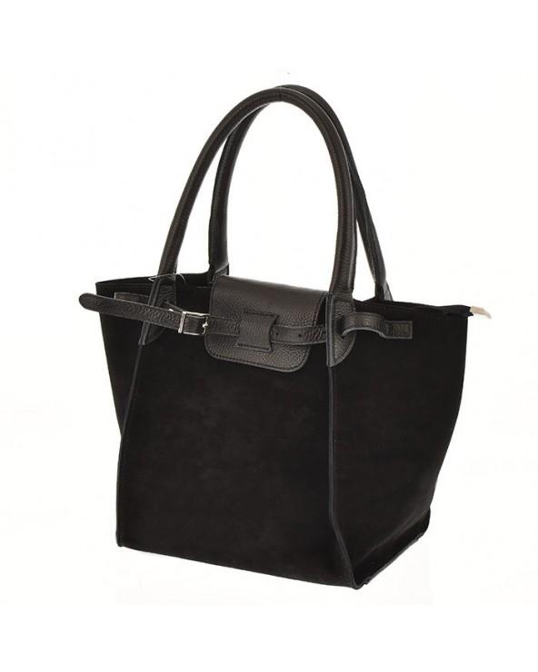 Włoska torebka zamszowa trapez a'la Celine czarna