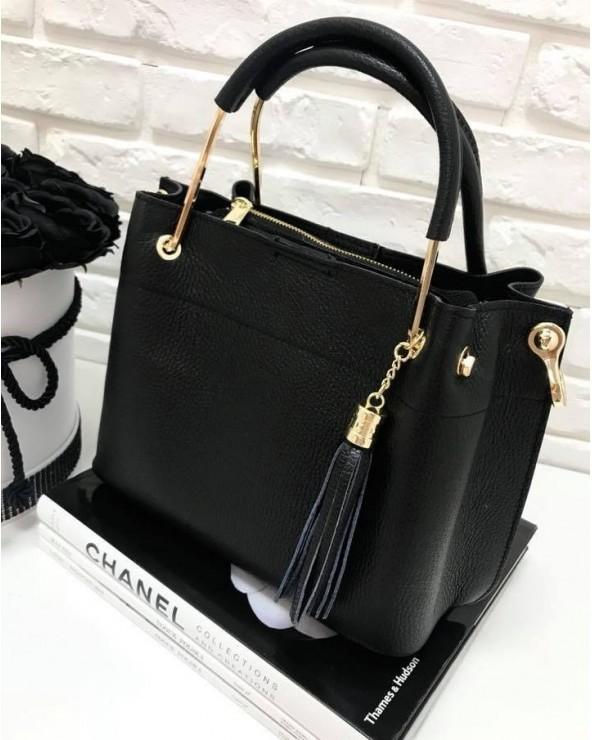 Włoska torebka kuferek z frędzelkiem a'la LV czarna