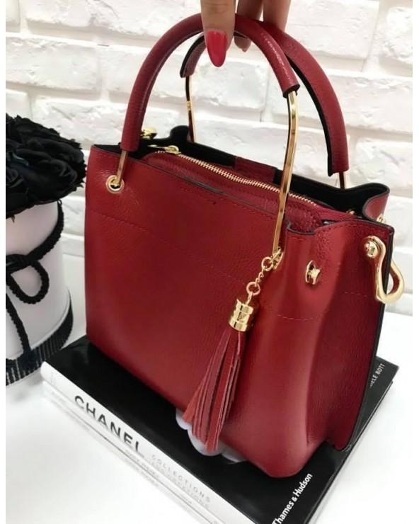 Włoska torebka kuferek z frędzelkiem a'la LV czerwona
