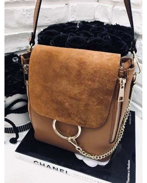 Włoska torebka skórzana mały plecak a'la  Chloe camel