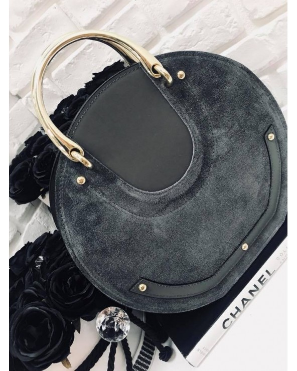 Włoska torebka z zamszem pixie szara