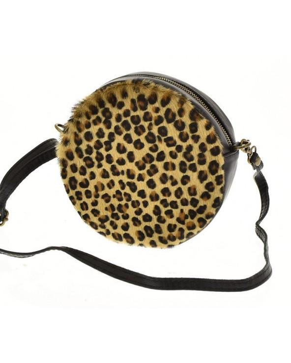 Okrągła torebka animal print z futerkiem panterka