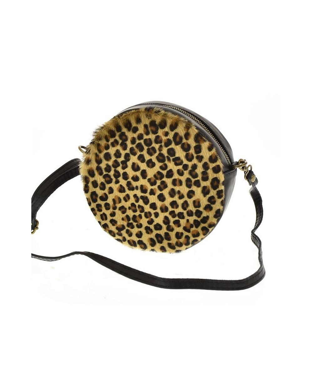 Okrągła torebka torebka z futerkiem panterka