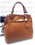 Klasyczna skórzana torebka kuferek z kłódką camel