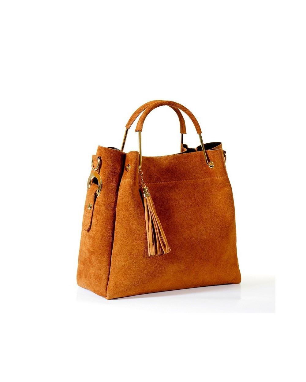 b28dd616e8c6f Włoska torebka zamszowa duży kuferek z frędzelkiem a la LV camel. ‹ ›