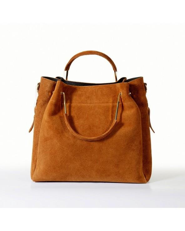 Włoska torebka zamszowa duży kuferek z frędzelkiem a'la LV camel