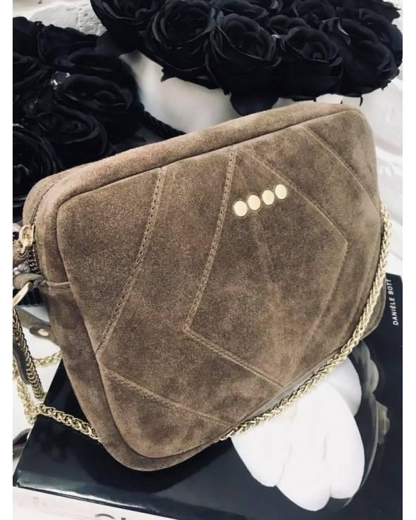 Prostokątna torebka na łańcuszku taupe