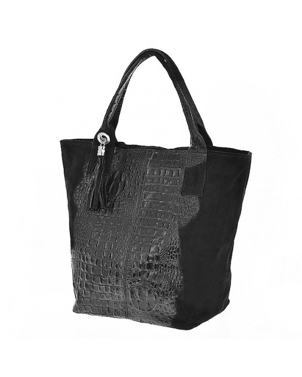 Zamszowa torebka shopper skóra krokodyla czarna
