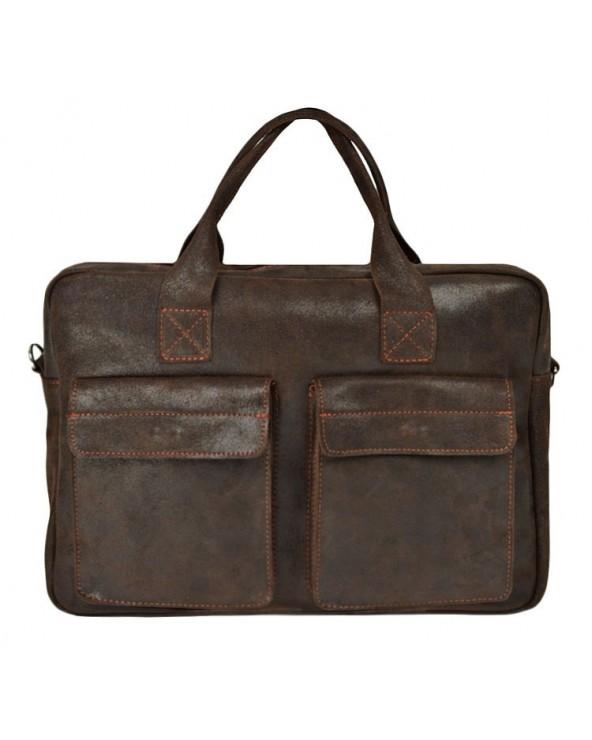 Duża męska torba skórzana na laptopa brązowa vintage