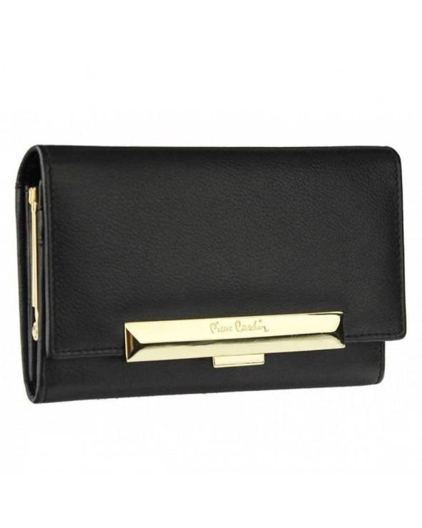 Elegancki damski portfel skórzany Pierre Cardin czarny