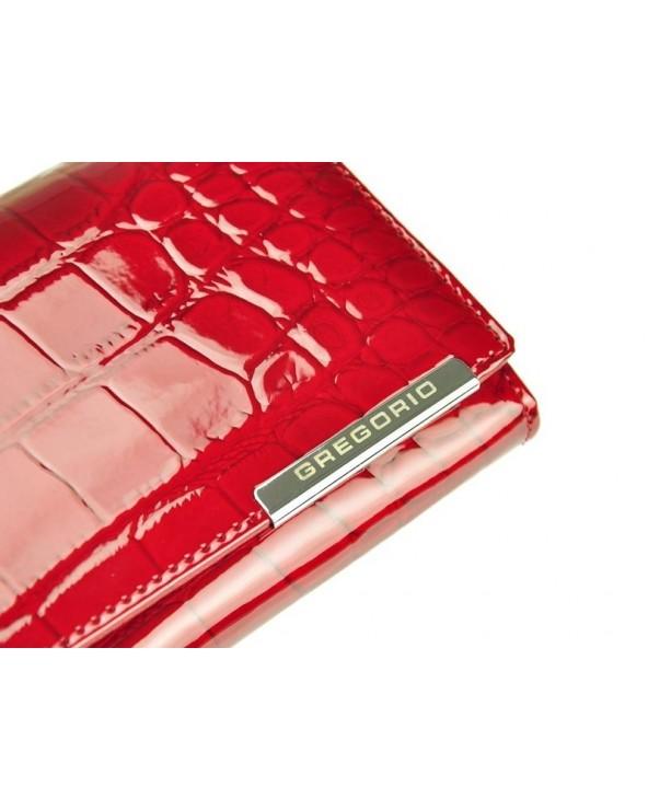 Portfel damski skórzany skóra krokodyla Gregorio czerwony