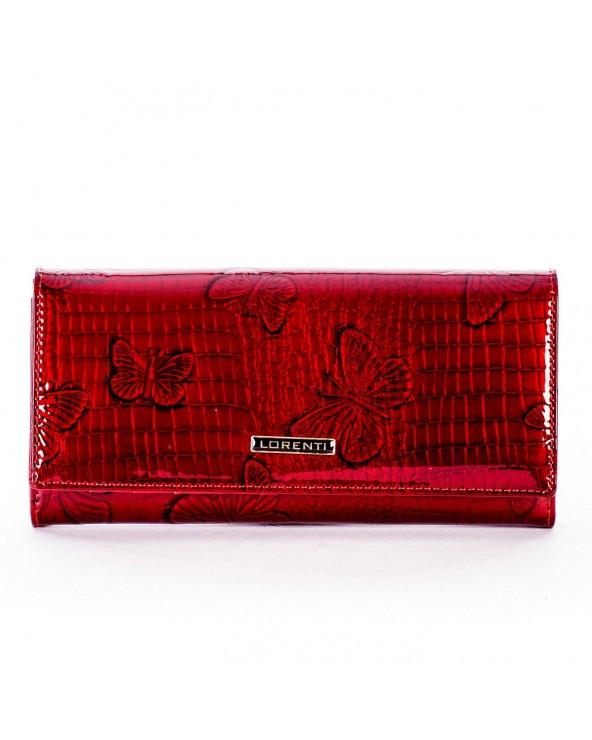 Damski portfel skórzany lakierowany motyle czerwony