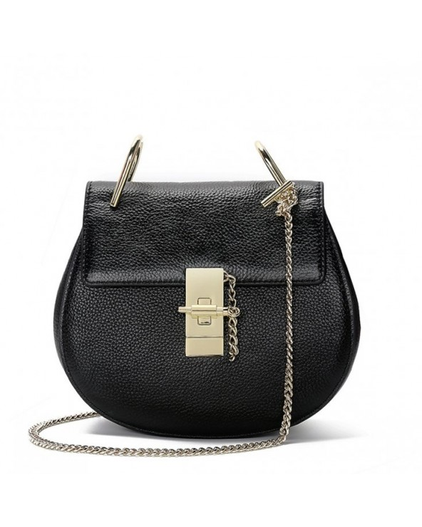 Elegancka okrągła torebka na łańcuszku podkówka czarna