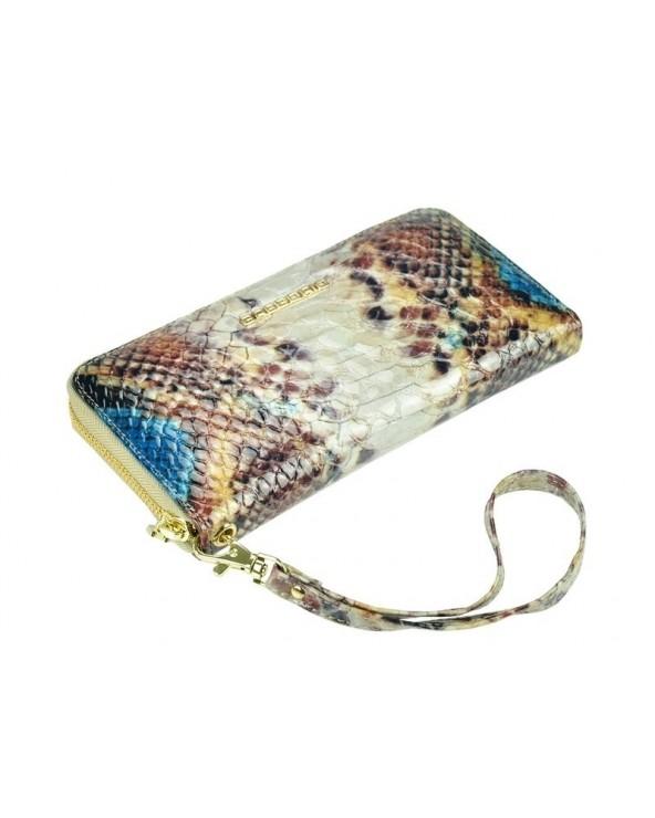 Damski portfel kopertówka skóra węża niebieski