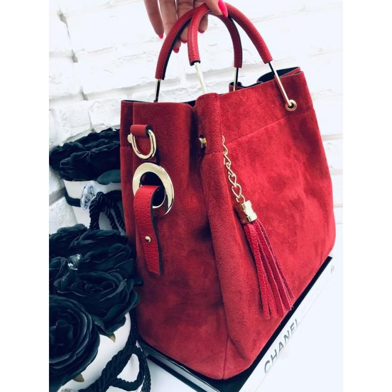 afe8de6f69e2a Włoska torebka zamszowa duży kuferek z frędzelkiem a la LV czerwony ...