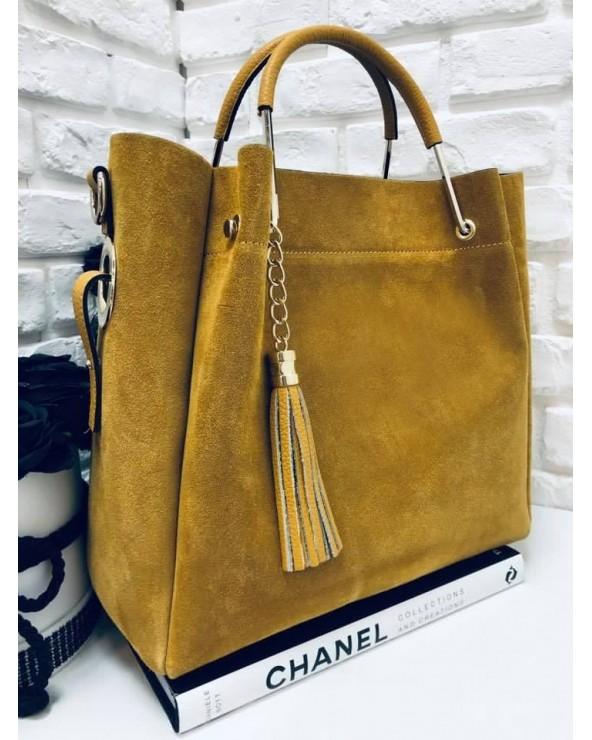 Włoska torebka zamszowa duży kuferek z frędzelkiem a'la LV miodowy
