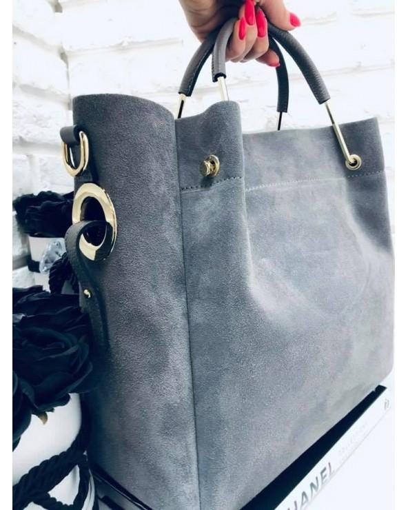 Włoska torebka zamszowa duży kuferek z frędzelkiem a'la LV szary