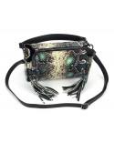 Włoska torebka skóra węża z frędzelkami vera pelle róż turkus