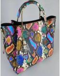 Włoska torebka skóra węża duży kuferek z frędzelkiem a'la LV kolorowa