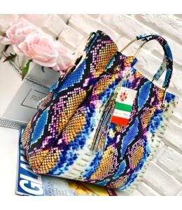 Włoska torebka skóra węża duży kuferek z frędzelkiem a'la LV kolorowa 2