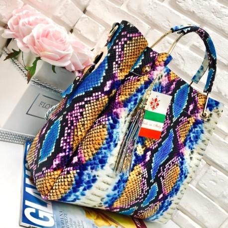 7aee4800b3eaa Włoska torebka skóra węża duży kuferek z frędzelkiem a la LV kolorowa 2
