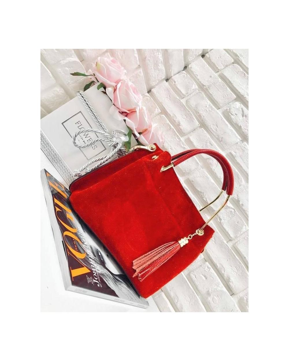a299e85380e02 Włoska torebka kuferek zamszowy z frędzelkiem a la LV czerwony ...