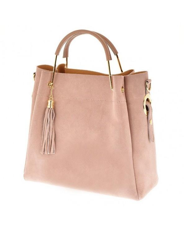 Włoska torebka zamszowa duży kuferek z frędzelkiem a'la LV zgaszony róż
