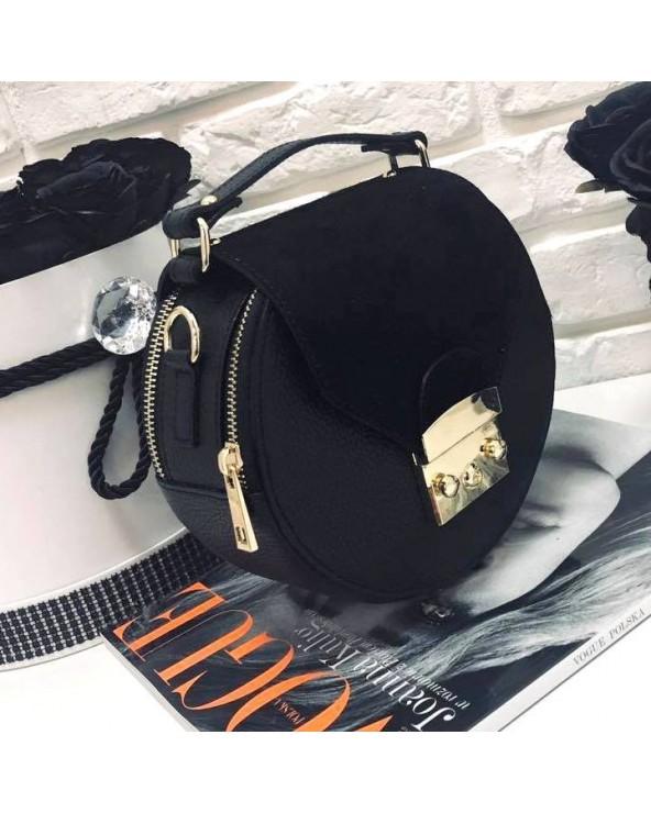 Okrągła torebka a'la Furla z zamszem czarna