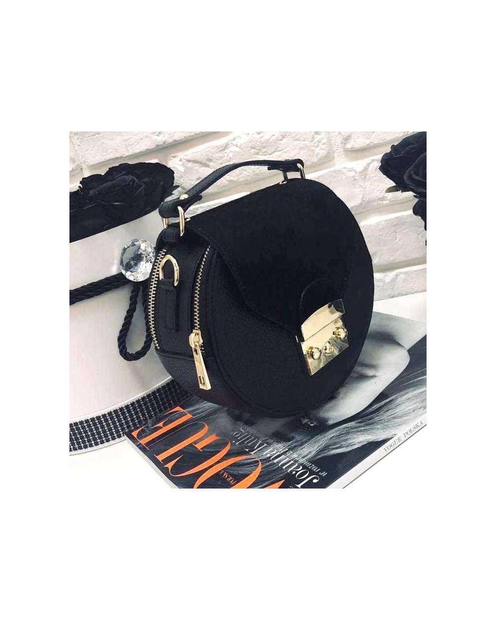 cae8a55755624 Okrągła torebka a'la Furla z zamszem czarna - Sklep internetowy ...